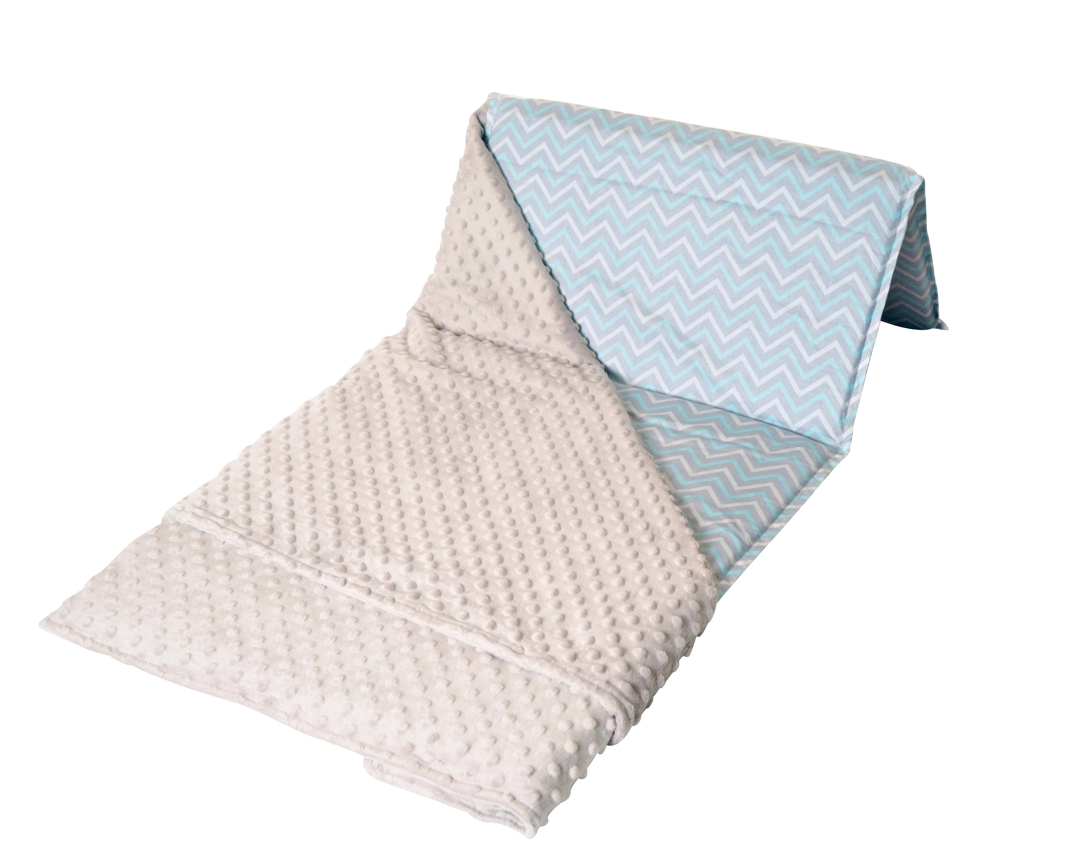 Light Blue and Winter Gray Nap Mat Cover with attached Blanket Image