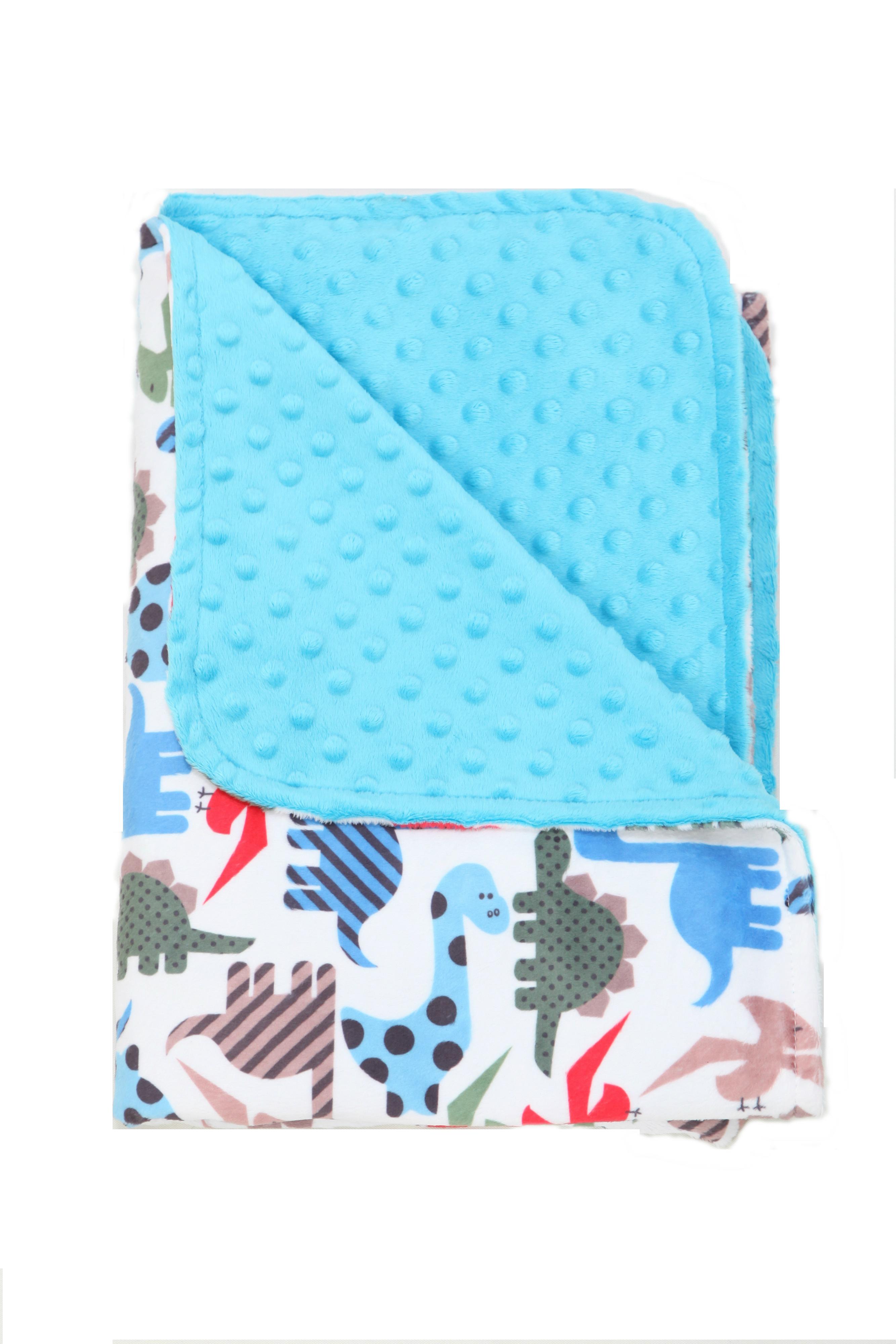 Minky Dino Toddler/Baby Blanket Blue