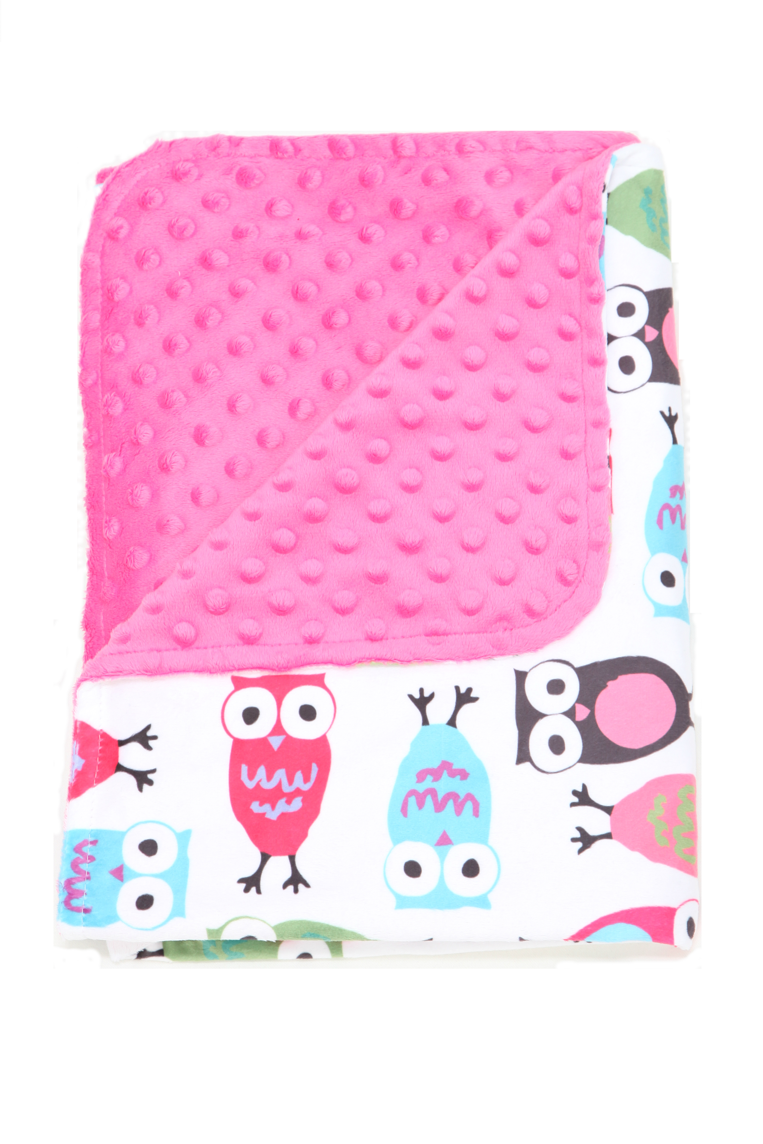 Minky Owl  Pink Toddler/Baby Blanket